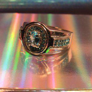 Blue CZ Silver Tone Ring Size 9.5